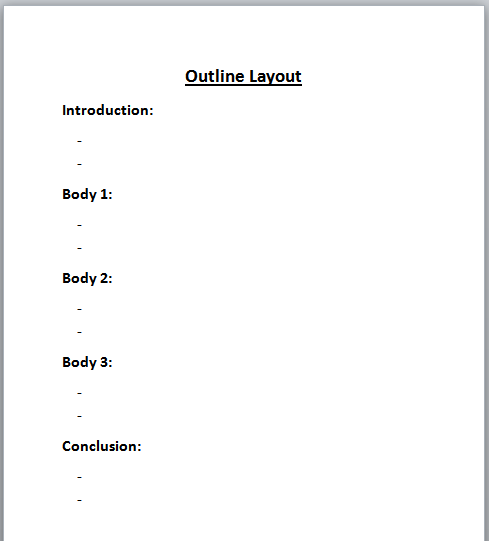 prewriting outline template pre writing the writing process